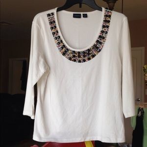 Westbound Beaded/Embellished 3/4  Sleeve Top - L